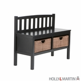 Enticing Brazos Black Bench with Wicker Baskets by Southern Enterprises