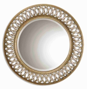 Entwined Antique Wall Mirror with Mahogany Open Fret Frame Brand Uttermost
