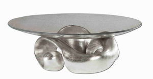 Entwined Style Bowl With Champagned Silver Leaf Glass Brand Uttermost