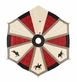 Equestrian Themed Wrap Around Tree Skirt In Rich Red Plaid Brand C&F