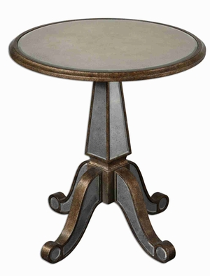 Eraman Mirrored Accent Table With Beveled Mirrors and Gold Inset Brand Uttermost