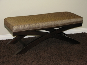 Espresso Brown X Bench with Soft Animal Print Linen by 4D Concepts