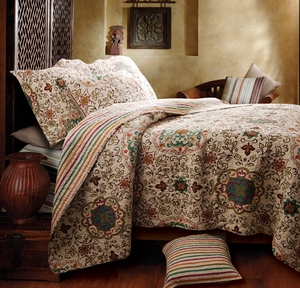 Esprit Spice Cotton Quilt Queen Set With 2 Pillows, 90 X 90 Inch Brand Greenland Home fashions