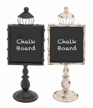 Set Of Twin Black And Pink Colored Metal Wood Blackboard Assorted - 20241 by Benzara