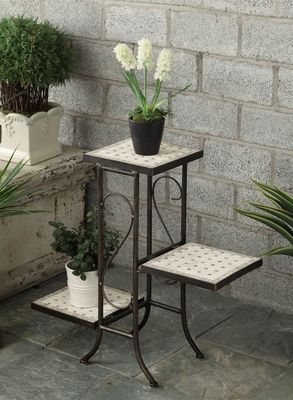 Ethnic 3 Tiers Travertine Top Classy Plant Stand by 4D Concepts