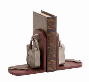 Ethnic and Elegant Metal Lock Designed Bookend Brand Benzara