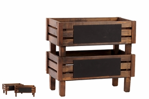 Ethnic and Vintage Themed Set of Two Wooden Storage