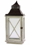 Ethnic Design Black Metal Roofed Wooden Lantern w/ Crossed Design on Each Side of the Glass Panel