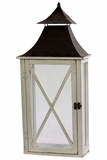 Ethnic Design Black Metal Roofed Wooden Lantern w/ Crossed Design on Each Side of the Glass Panel in White