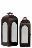 Ethnic Dome shaped Metal Lanterns Set of Two in Black