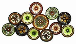 Metal Wall Decor With Colorful Flowers Over Round Base - 13849 by Benzara