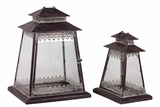 Ethnic & Traditional Design Glass Paneled Metal Lantern Set of Two