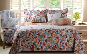 Euphoria Reversible Quilt Set for Full/Queen Bed with Shams Brand Green Land