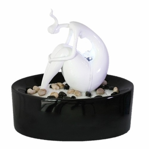 Euro Style Sitting Sculpted Figure Table Fountain In White�Lacquer Finish Brand Domani