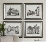 European Architecture And House Artwork Set In Polished Silver Frames Brand Uttermost