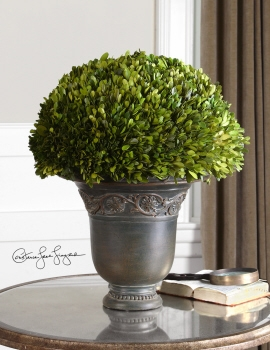 Evergreen Planter - Preserved Boxwood Plant In Ancient Patina Pot Brand Uttermost