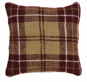 "Everson Woven Plaid Pillow Acrylic 16"" x 16"" by VHC Brands"