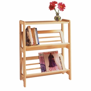 Excellent 2 Tier Bookshelf with Slanted Shelf by Winsome Woods