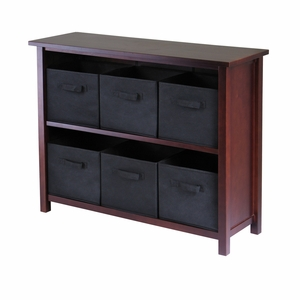 Excellent & Smart Verona 2 -Tier Storage Shelf with 6 Black Baskets by Winsome Woods