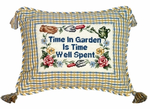 Excellent Time in Garden Petit-Point Saying Pillow by 123 Creations