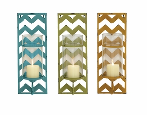Exclsuive Metal Glass Candle Wall Sconce 3 Assorted by Woodland Import