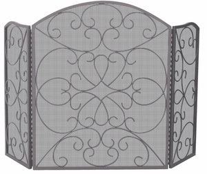 Exclusive 3 Fold Bronze Screen With Ornate Design