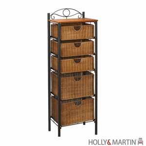 Exclusive Argyle Iron Unit with Five Wicker Drawers by Southern Enterprises