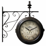 Exclusive Double-sided Black Iron Wall Clock with glass by Yosemite Home Decor