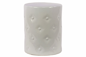 Exclusive Glossy Finish Ceramic Garden Stool White