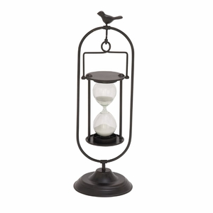 Exclusive Metal Glass Min Black Hourglass - 67756 by Benzara