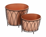 Exclusive Styled Metal Oval Planter by Woodland Import