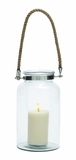 Exclusively Styled Glass Metal Lantern Rope Handel by Woodland Import