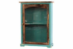 Exotic and Enthralling Wooden Blue Cabinet