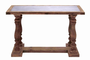 Exquisite and Elegant Pillar Legged Wooden Table Brand Benzara