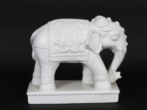 Exquisite and Elegantly Designed Ceramic White Elephant Figurine by Urban Trends Collection