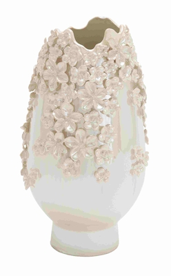Exquisite and Glossy Oyster Shell Floral Designed Ceramic Vase Brand Benzara