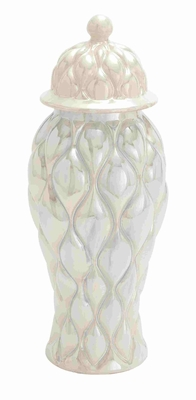 Exquisite Ceramic Jar with Unique Pattern Brand Benzara