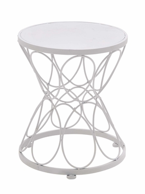 Exquisite Classy Styled Metal White Plant Stand by Woodland Import