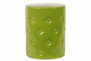 Exquisite Customary Styled Ceramic Garden Stool Green by Urban Trends Collection