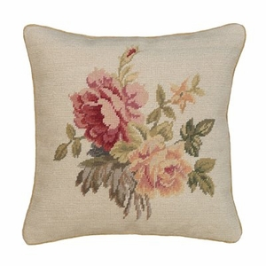 "Exquisite Floral Petit-Point Pillow 16x16"" by 123 Creations"
