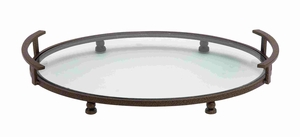 Exquisite Rounded Glass Plate with Unique Metal Stand Brand Benzara