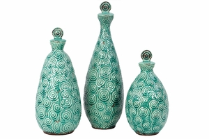 Exquisite Spiral Designed Set of Three Stoneware Vases