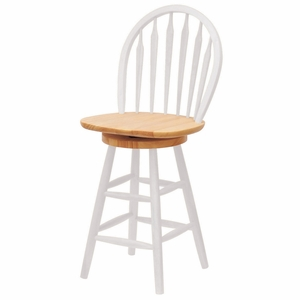 """Winsome Wood Exquisite Stylized Natural & White 24"""" Windsor Swivel Stool"""