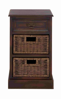 Exquisite Wooden Brown Stand with Baskets Brand Benzara