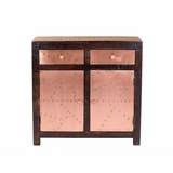 Exquisitely Designed Aged Copper Clad Cabinet by Yosemite Home Decor
