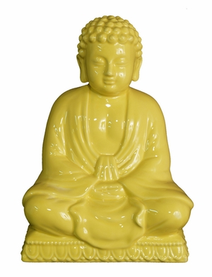 Exquisitely Designed Yellow Ceramic Buddha by Three Hands Corp