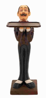 Exquisitely Finished Waiter with Tray Statuette And Sturdy Base Brand Woodland