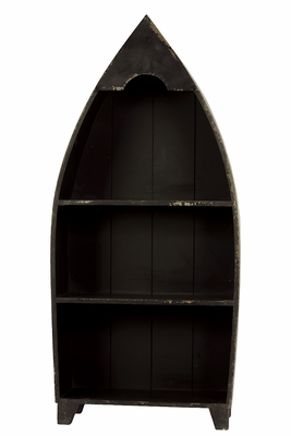 Extraordinary Black Boat Shaped Shelf by Urban Trends Collection
