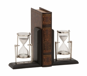 Eye-Catching Customary Styled Wood Metal Bookend Pair by Woodland Import