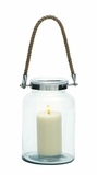 Eye Catching Glass Metal Lantern Rope Handle by Woodland Import